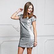 Одежда ручной работы. Ярмарка Мастеров - ручная работа Платье коктейльное из  пайеток  хамелеон серебряное/черное. Handmade.