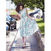 Одежда ручной работы. Ярмарка Мастеров - ручная работа Платье в платьях хлопок поплин миди летнее бирюзовое можно familylook. Handmade.