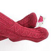 """Аксессуары ручной работы. Ярмарка Мастеров - ручная работа Вязаные носки """"Брусничные мечты"""" шерстяные носки вязанные. Handmade."""