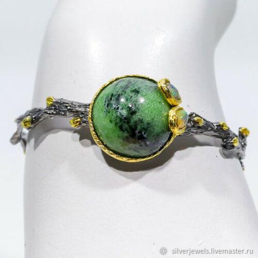 Bangle Bangla silver zoisite and opals, Hard bracelet, Moscow,  Фото №1