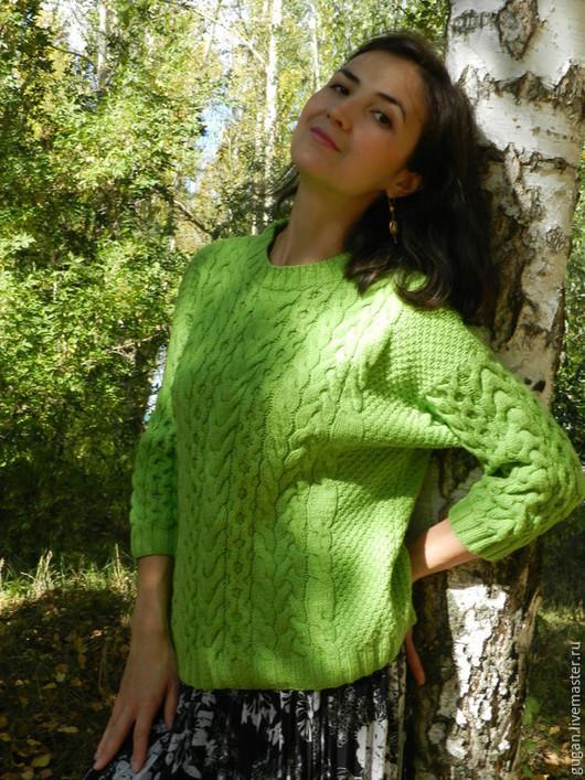 Кофты и свитера ручной работы. Ярмарка Мастеров - ручная работа. Купить вязаный свитер Весна. Handmade. Зеленый, свитер женский