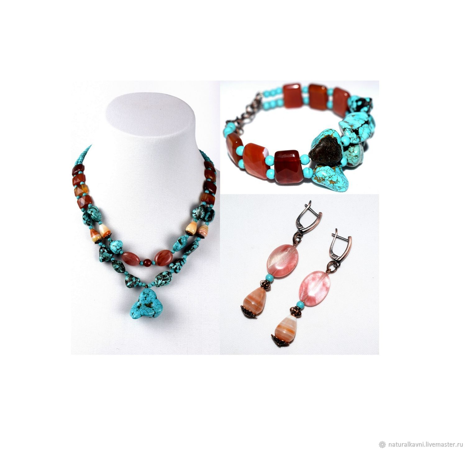 Set of earrings bracelet and necklace made of natural stones (m), Jewelry Sets, Moscow,  Фото №1