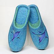 """Обувь ручной работы. Ярмарка Мастеров - ручная работа Валяные тапочки """"Небо на двоих"""". Handmade."""