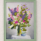 handmade. Livemaster - original item A Picture Embroidered with Lupine Ribbons. Handmade.