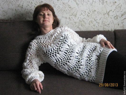 Кофты и свитера ручной работы. Ярмарка Мастеров - ручная работа. Купить Ажурный пуловер. Handmade. Белый, однотонный, ажурная туника