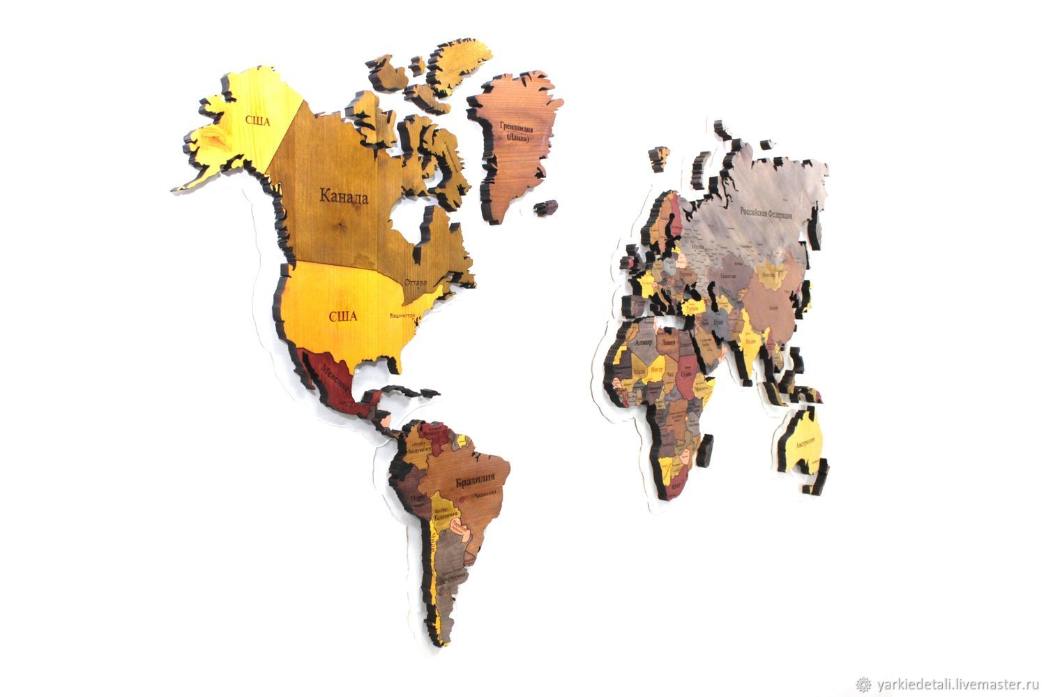 "World map of solid pine ""Color"" – shop online on Livemaster with"