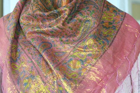 Винтажная одежда и аксессуары. Ярмарка Мастеров - ручная работа. Купить 20 Платок розовый большой с люрексом. Handmade. Платок, платок в подарок
