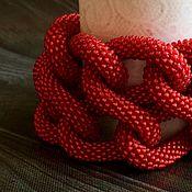 Украшения ручной работы. Ярмарка Мастеров - ручная работа Алая бесконечность - большой браслет из бисерного жгута, красный. Handmade.