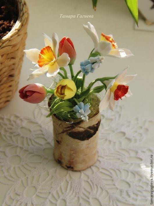 Цветы ручной работы. Ярмарка Мастеров - ручная работа. Купить Весенний пенечек. Handmade. Желтый, тюльпаны, пенек