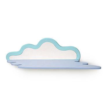 Мебель ручной работы. Ярмарка Мастеров - ручная работа Полки: В виде облачка бело-голубая. Handmade.
