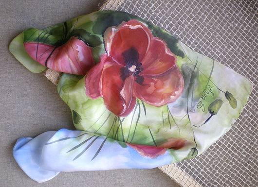 """Шарфы и шарфики ручной работы. Ярмарка Мастеров - ручная работа. Купить Платок """"Маки"""". Handmade. Мак, шарф, цветы, цветочный"""
