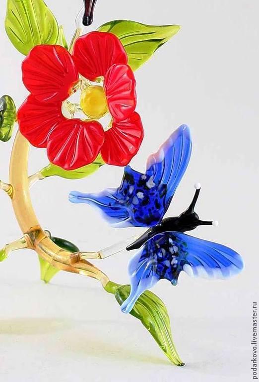 Миниатюрные модели ручной работы. Ярмарка Мастеров - ручная работа. Купить Бабочки  на цветке. Handmade. Сувениры и подарки, цветочная композиция