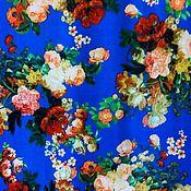 Ткани ручной работы. Ярмарка Мастеров - ручная работа Ткань штапель цветы на голубом. Handmade.