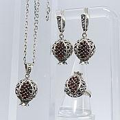 Украшения handmade. Livemaster - original item Jewelry set Juicy Garnet with zircons made of silver 925 GA0032. Handmade.