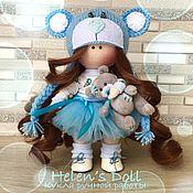 Тыквоголовка ручной работы. Ярмарка Мастеров - ручная работа Кукла мини ручной работы с мишкой Тедди. Handmade.