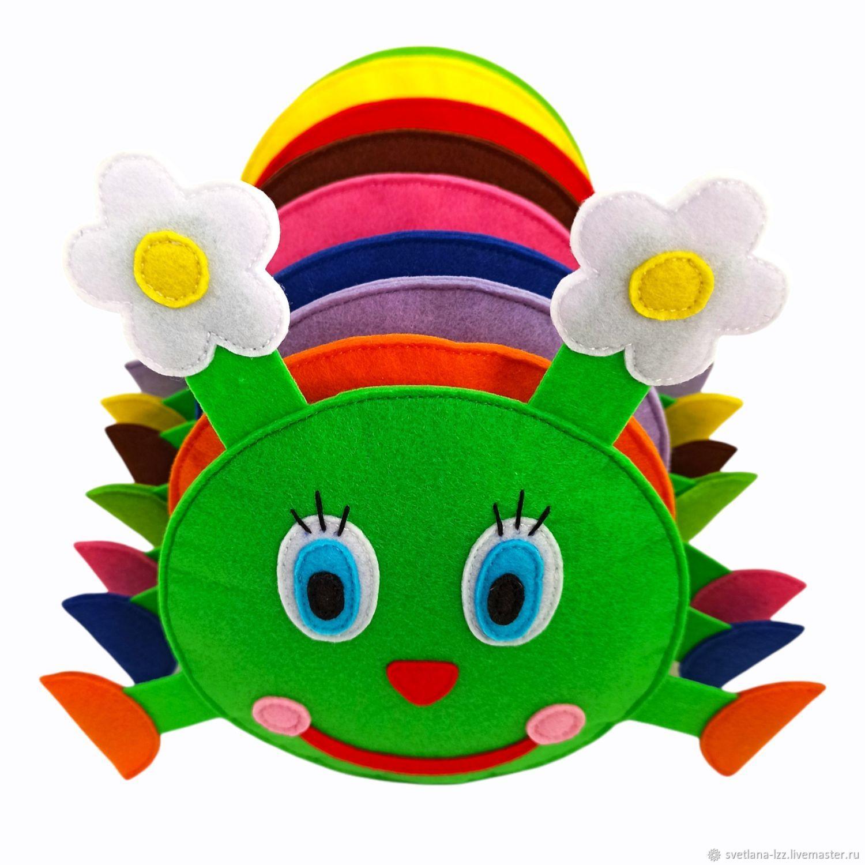 Развивающая мягкая игрушка из фетра Весëлая Гусеница для малышей, Мягкие игрушки, Подольск,  Фото №1