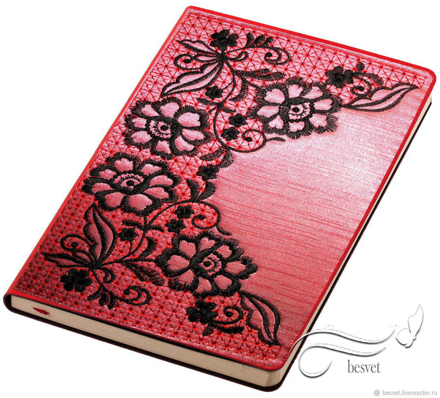Diaries handmade. Livemaster - handmade. Buy Imitation lace - machine embroidery cover design.Lace, design in machine embroidery