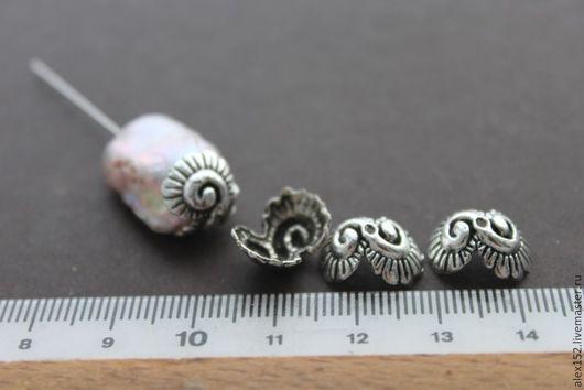 Для украшений ручной работы. Ярмарка Мастеров - ручная работа. Купить Шапочки латунь с покрытием серебром ( можно гнуть) 13 мм. Handmade.