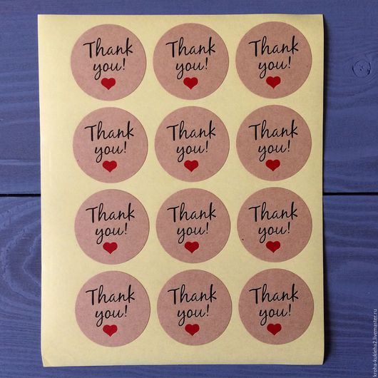 """Упаковка ручной работы. Ярмарка Мастеров - ручная работа. Купить Стикеры """"""""Thank you с сердцем"""". Handmade. Белый, стикеры"""