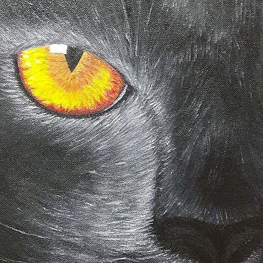"""Картины и панно ручной работы. Ярмарка Мастеров - ручная работа Интерьерная картина маслом """"Взгляд кошки"""". Handmade."""