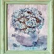 """Картины и панно ручной работы. Ярмарка Мастеров - ручная работа Картина """"Незабудки"""" монотипия акварель. Handmade."""