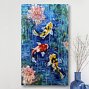 Картины и панно handmade. Livemaster - original item Koi Carp oil painting. Fish in the pond. Water lilies. Painting with a palette knife. Handmade.
