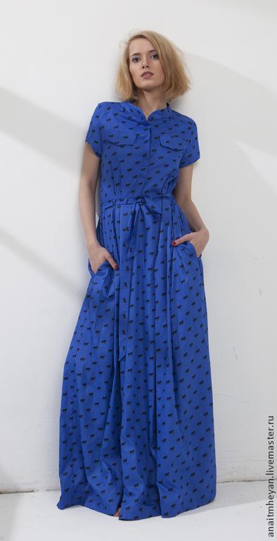 """Платья ручной работы. Ярмарка Мастеров - ручная работа. Купить Платье """"DREAM"""". Handmade. Синий, платье свободное, Стиль сафари"""