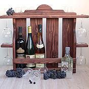 """Для дома и интерьера ручной работы. Ярмарка Мастеров - ручная работа """"Ариша"""", Деревянная винная полка, винный шкаф стеллаж полка из дерева. Handmade."""