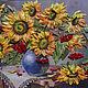 Картины цветов ручной работы. Ярмарка Мастеров - ручная работа. Купить Подсолнухи. Handmade. Оранжевый, красота сельская, букет