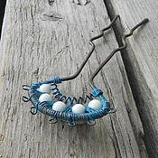 Украшения ручной работы. Ярмарка Мастеров - ручная работа Шпилька для волос медная голубая патина с агатом. Handmade.