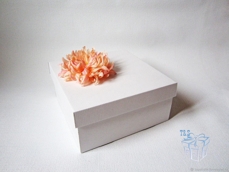 Коробка белая 25х25х12, крышка дно, купить, подарочный, гифт боксы, Коробки, Москва,  Фото №1