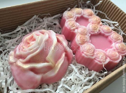 `8 МАРТА. Розы.` Набор мыла ручной работы. Сувенир на 8 марта. Handmade.