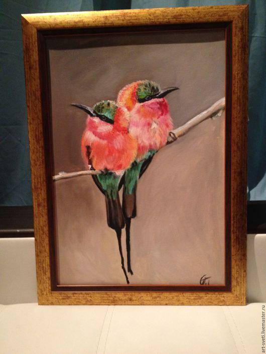 """Животные ручной работы. Ярмарка Мастеров - ручная работа. Купить """"Колибри"""". Handmade. Кремовый, птички, картина для интерьера, картина на холсте"""