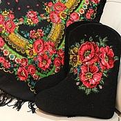 """Обувь ручной работы. Ярмарка Мастеров - ручная работа Комплект """"Маков цвет"""" Валенки+платок. Handmade."""