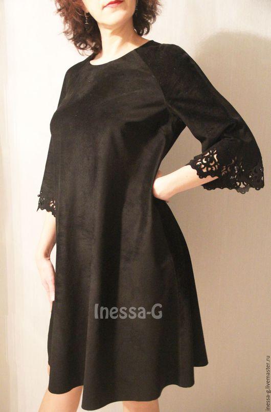 Платья ручной работы. Ярмарка Мастеров - ручная работа. Купить Нарядное  платье  из черной замши. Handmade. Платье нарядное