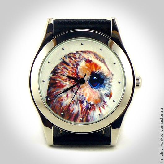 Часы наручные `Акварельная сова`. Необычные наручные часы ручной работы.