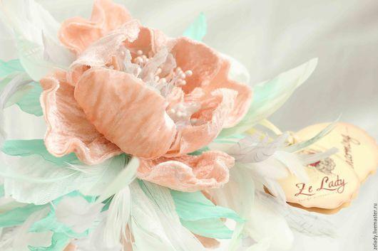 """Цветы ручной работы. Ярмарка Мастеров - ручная работа. Купить Пион  """"Магия персика и мяты"""". Handmade. Цветы из ткани"""