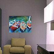 Картины и панно ручной работы. Ярмарка Мастеров - ручная работа 11. Лодки Картина маслом импрессионизм  30 на 40 см. Handmade.