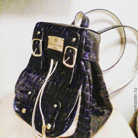 Рюкзаки ручной работы. Ярмарка Мастеров - ручная работа. Купить городской женский рюкзак. Handmade. Тёмно-синий, кожа итальянская