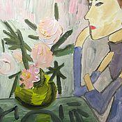 Картины и панно ручной работы. Ярмарка Мастеров - ручная работа Девушка с цветком. Handmade.