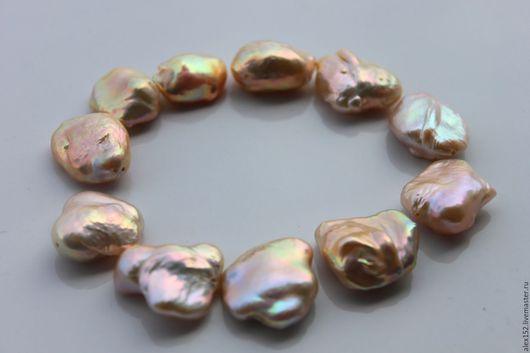 Для украшений ручной работы. Ярмарка Мастеров - ручная работа. Купить Нить 22 см 11 шт жемчуг Суфле розово-золотой мет блеск. Handmade.