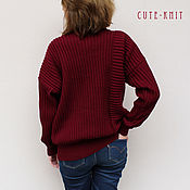 Одежда handmade. Livemaster - original item Sweater women`s knit color Bordeaux. Handmade.
