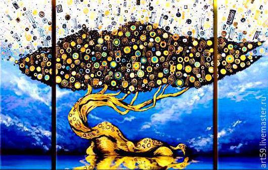 """Фантазийные сюжеты ручной работы. Ярмарка Мастеров - ручная работа. Купить триптих """" Дерево жизни """". Handmade. Разноцветный"""