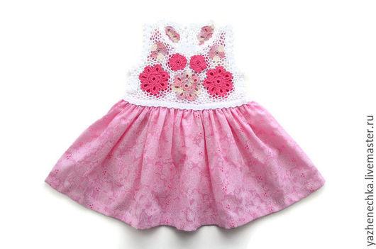 Платье для новорожденной девочки, ирландское кружево, вид спереди
