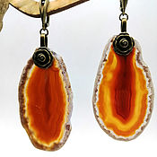 Украшения handmade. Livemaster - original item Large earrings of brown agate slices