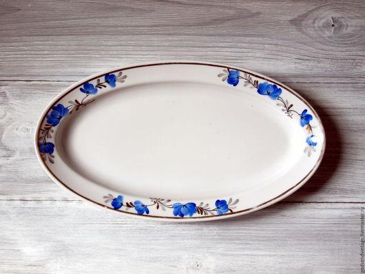 Винтажная посуда. Ярмарка Мастеров - ручная работа. Купить Селедочница, блюдо, фарфор, ручная роспись. Handmade. Белый, винтажный фарфор