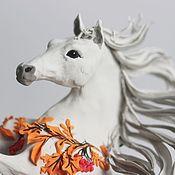 """Для дома и интерьера ручной работы. Ярмарка Мастеров - ручная работа фигурка """"лошадка-осень"""" (осенние листья, рыжие листья, осень). Handmade."""