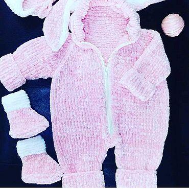 Одежда ручной работы. Ярмарка Мастеров - ручная работа Детский комплект из плюшевой пряжи.. Handmade.