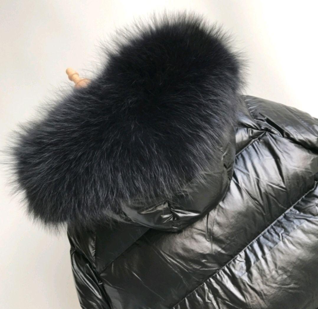 Меховая опушка на капюшон 70 или 80 см мех енот. Черная (Широкая), Шарфы, Москва,  Фото №1