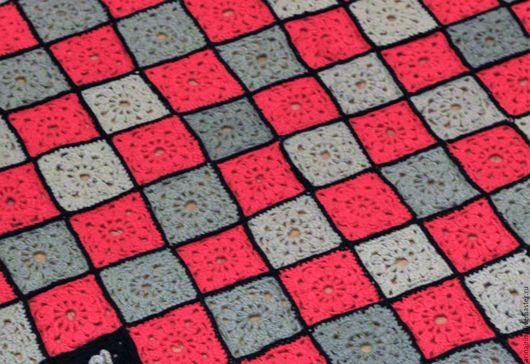 """Текстиль, ковры ручной работы. Ярмарка Мастеров - ручная работа. Купить Плед большой вязаный """"Красное и черное"""". Handmade. Черный"""